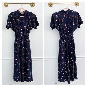 Vintage Navy Floral Collar Midi Dress Retro